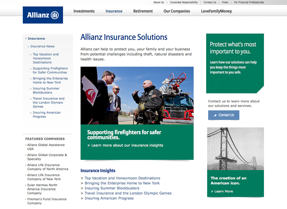 Our Work Allianz Responsive Web Design Mj Kretsinger